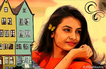freetoedit oilpainting citylife woman clipart