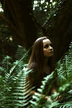 forest ferns girl green nature