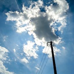 photography clouds rays sky pole freetoedit