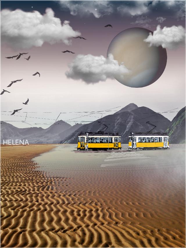 Last Stop #freetoedit #desert #trolley #planet  #clouds #myedit #mountains #birds #colorgradiant