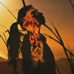 freetoedit fire hands doubleexposure shadows