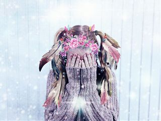 freetoedit feather flower headband pearl